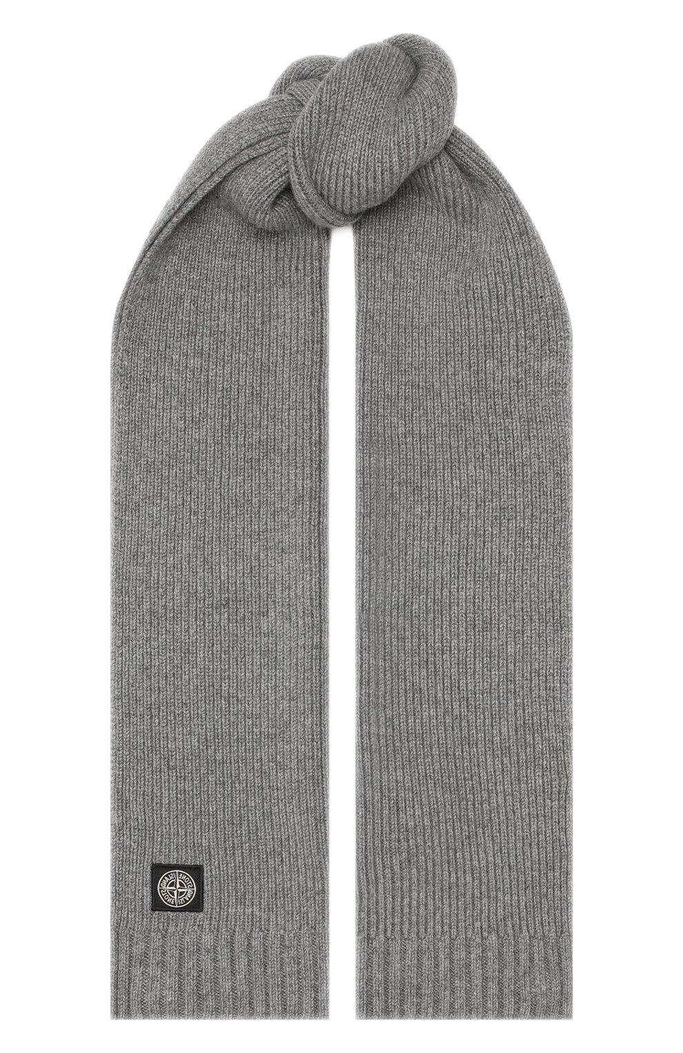 Детский шарф из шерсти и вискозы STONE ISLAND серого цвета, арт. 7316N02A8   Фото 1