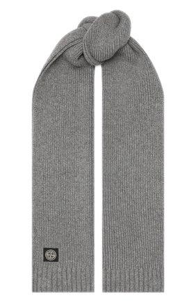 Детский шарф из шерсти и вискозы STONE ISLAND серого цвета, арт. 7316N02A8 | Фото 1