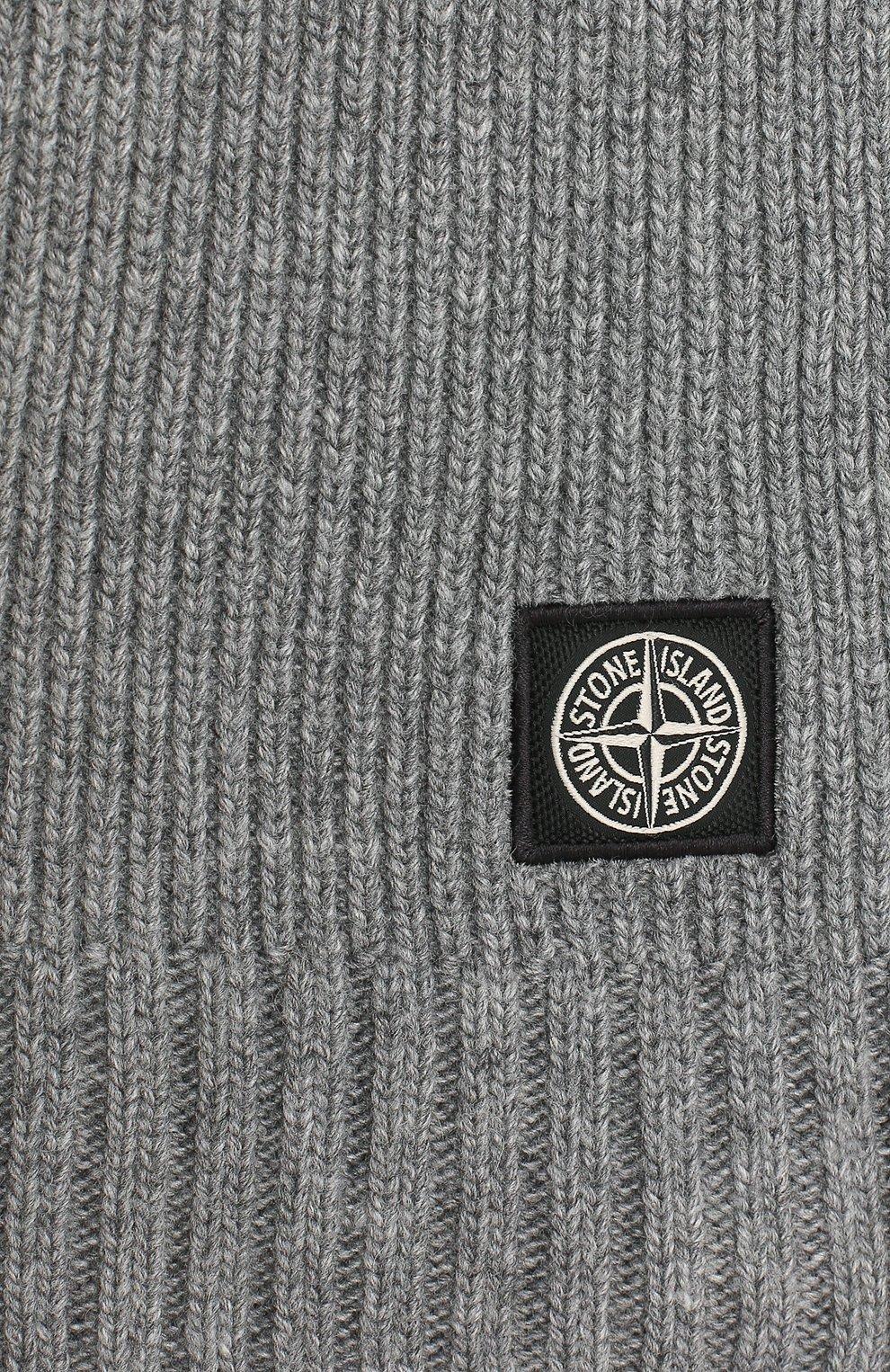 Детский шарф из шерсти и вискозы STONE ISLAND серого цвета, арт. 7316N02A8   Фото 2