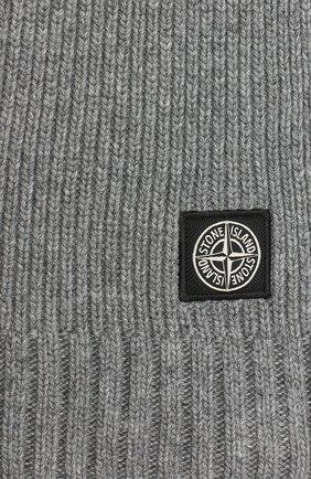 Детский шарф из шерсти и вискозы STONE ISLAND серого цвета, арт. 7316N02A8 | Фото 2