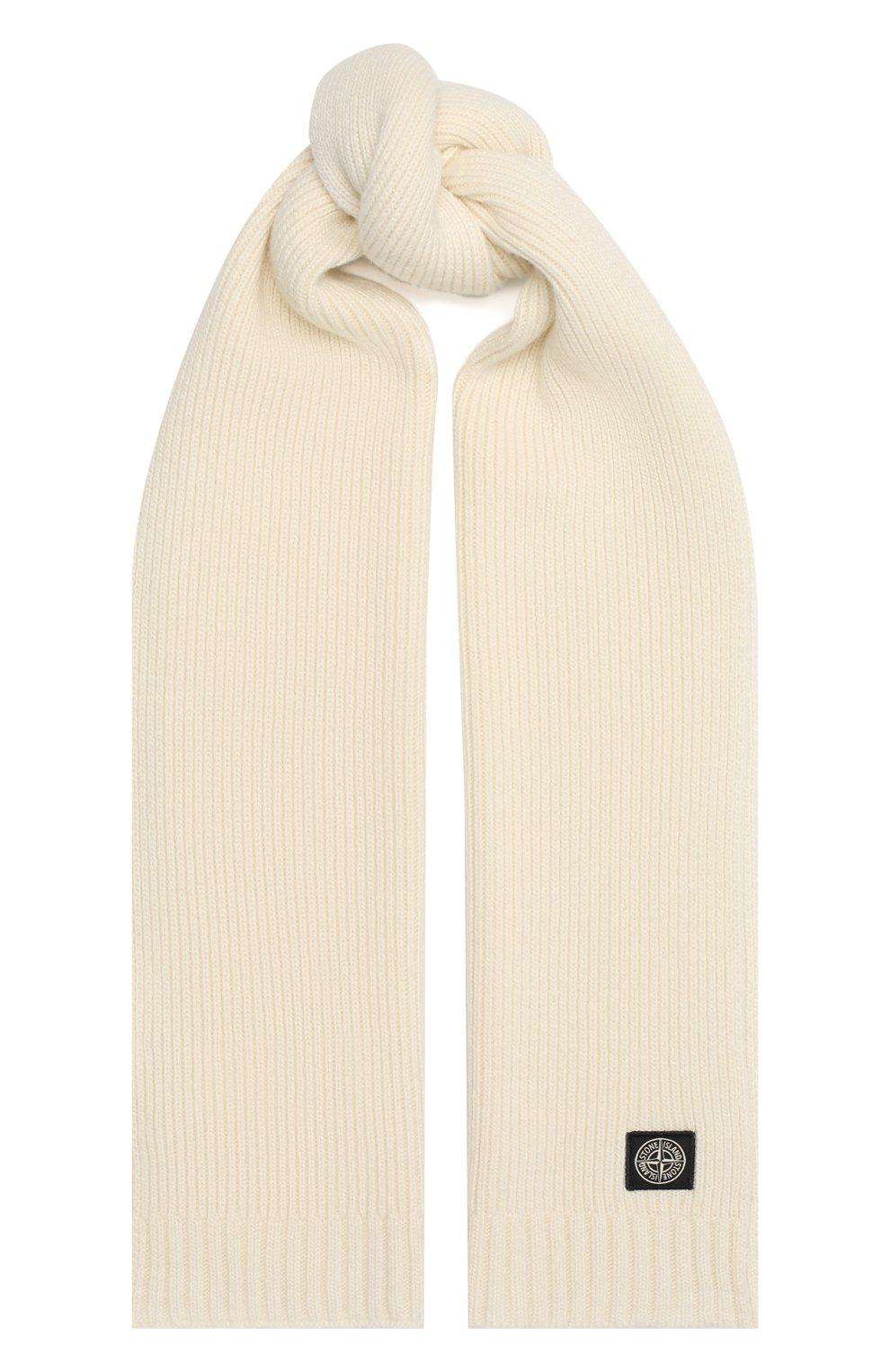 Детский шарф из шерсти и вискозы STONE ISLAND белого цвета, арт. 7316N02A8 | Фото 1