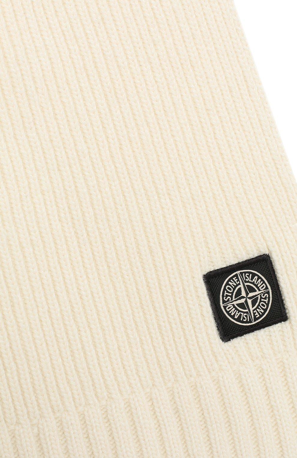 Детский шарф из шерсти и вискозы STONE ISLAND белого цвета, арт. 7316N02A8 | Фото 2