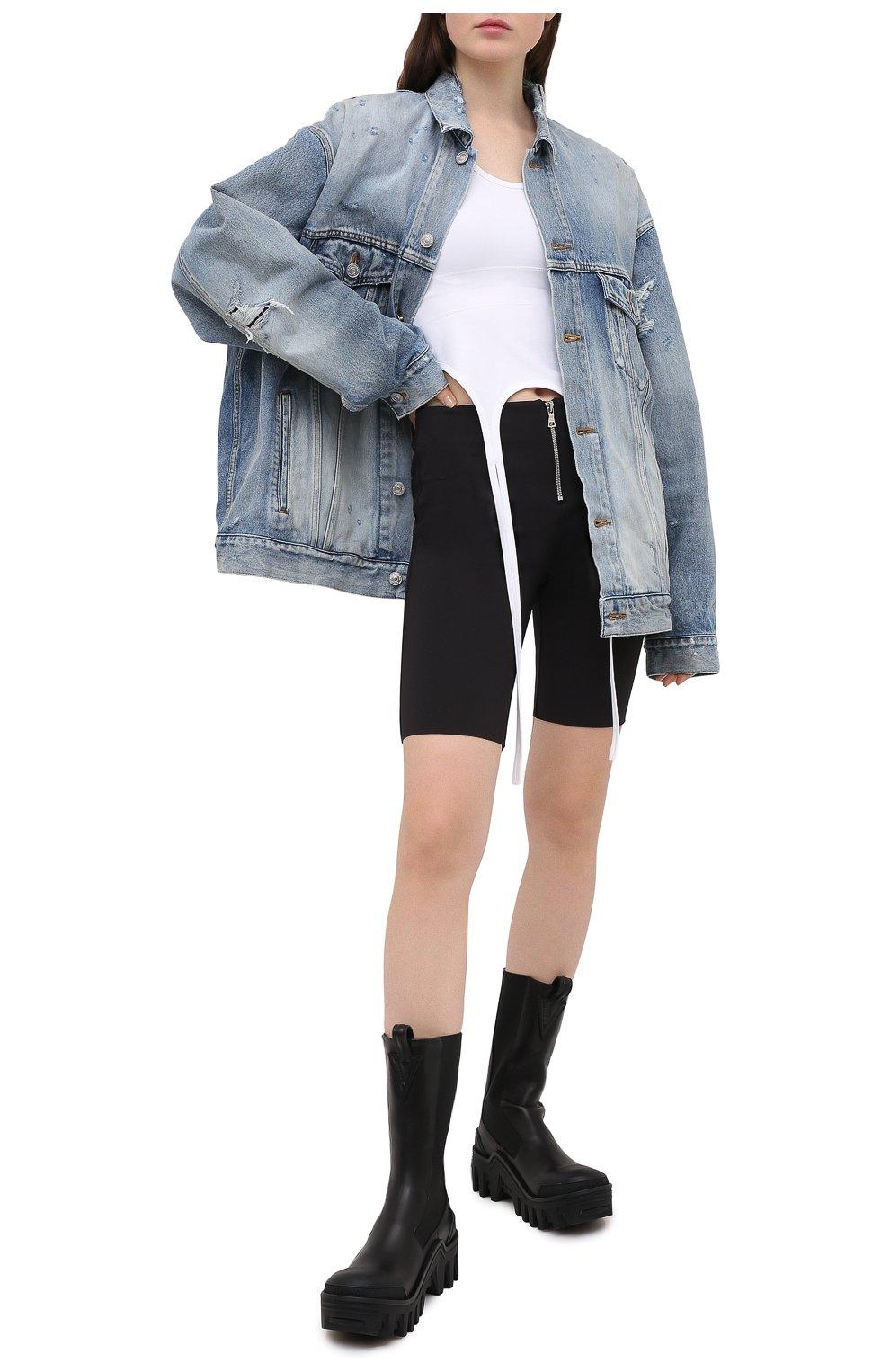 Женские шорты RTA черного цвета, арт. WU0425-3011BLK | Фото 2 (Женское Кросс-КТ: Шорты-одежда; Длина Ж (юбки, платья, шорты): Мини; Материал внешний: Синтетический материал; Стили: Спорт-шик)