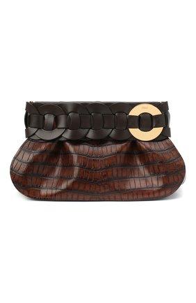 Женский клатч darryl CHLOÉ темно-коричневого цвета, арт. CHC20WS343D49 | Фото 1 (Размер: medium; Материал: Натуральная кожа; Женское Кросс-КТ: Клатч-клатчи)