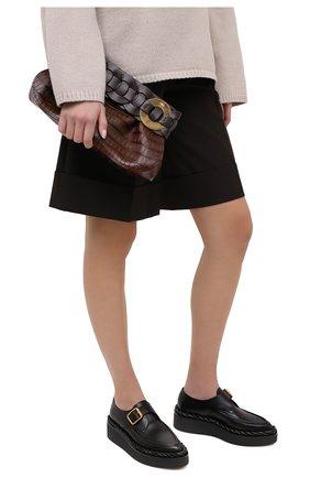 Женский клатч darryl CHLOÉ темно-коричневого цвета, арт. CHC20WS343D49 | Фото 2 (Размер: medium; Материал: Натуральная кожа; Женское Кросс-КТ: Клатч-клатчи)