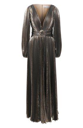Женское шелковое платье OSCAR DE LA RENTA золотого цвета, арт. 20PN050LM0 | Фото 1