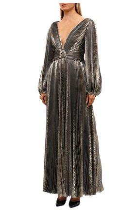 Женское шелковое платье OSCAR DE LA RENTA золотого цвета, арт. 20PN050LM0 | Фото 2