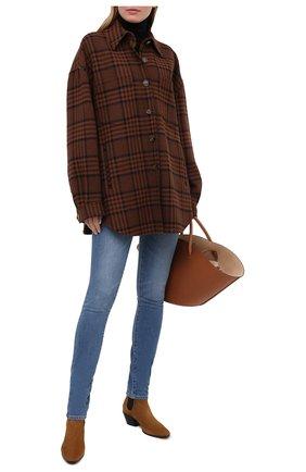 Женские джинсы BRANDON MAXWELL синего цвета, арт. PT163SS20 | Фото 2