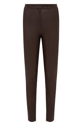 Женские кожаные брюки BALMAIN темно-коричневого цвета, арт. UF05885/L055 | Фото 1