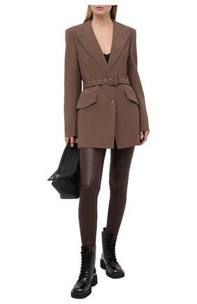 Женские кожаные брюки BALMAIN темно-коричневого цвета, арт. UF05885/L055 | Фото 2