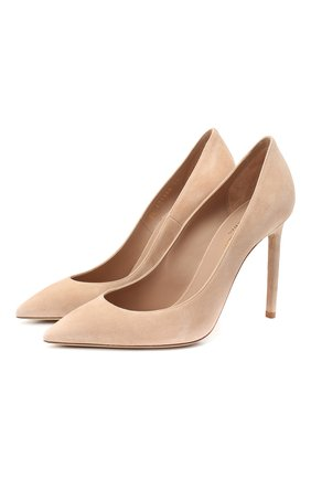 Женские замшевые туфли SAINT LAURENT бежевого цвета, арт. 471988/0LI00   Фото 1