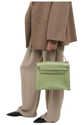 Женская сумка my rockstud из кожи крокодила VALENTINO зеленого цвета, арт. KW2B0977/C0D | Фото 2