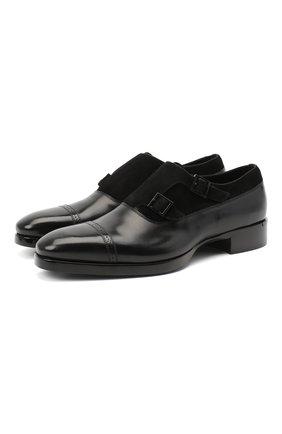 Мужские комбинированные монки SANTONI черного цвета, арт. MCLE17415LE1FLTUN51 | Фото 1
