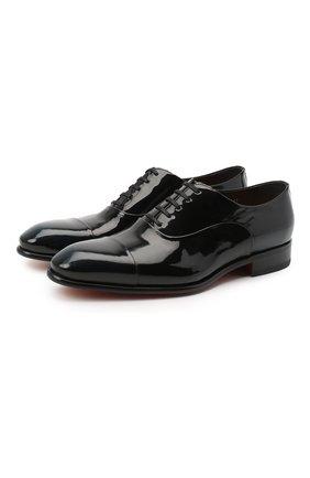Мужские кожаные оксфорды SANTONI черного цвета, арт. MCCR12621BC3FPAAN48 | Фото 1