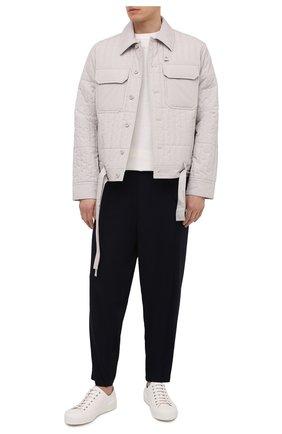 Мужские брюки из шерсти и вискозы YOHJI YAMAMOTO темно-синего цвета, арт. HR-P45-149 | Фото 2