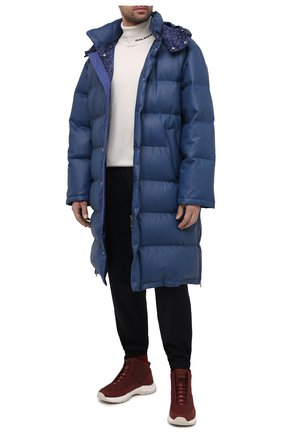 Мужская кожаный пуховик ZILLI SPORT темно-синего цвета, арт. MAU-YD003-SDB00/0001 | Фото 2
