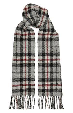 Мужской шерстяной шарф POLO RALPH LAUREN серого цвета, арт. 449823789 | Фото 1
