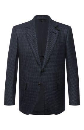 Мужской пиджак из шерсти и шелка TOM FORD синего цвета, арт. 918R37/15MF40 | Фото 1