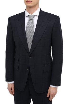 Мужской шерстяной костюм TOM FORD темно-синего цвета, арт. 946R17/21AL43 | Фото 2 (Рукава: Длинные; Материал внешний: Шерсть; Материал подклада: Шелк, Купро; Стили: Классический; Костюмы М: Однобортный)