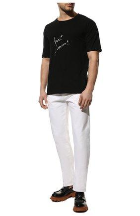Мужская хлопковая футболка SAINT LAURENT черного цвета, арт. 480406/YB1GN | Фото 2