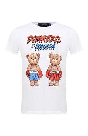Мужская хлопковая футболка DOMREBEL белого цвета, арт. STYLE 01/T-SHIRT | Фото 1 (Материал внешний: Хлопок; Длина (для топов): Стандартные; Рукава: Короткие; Мужское Кросс-КТ: Футболка-одежда; Принт: С принтом; Стили: Гранж)