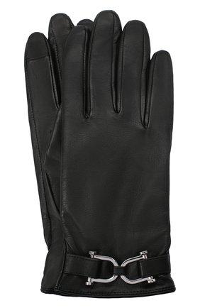 Женские кожаные перчатки BOSS черного цвета, арт. 50437332 | Фото 1