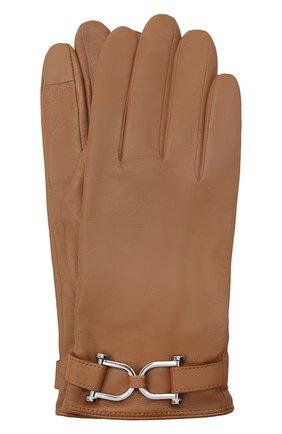 Женские кожаные перчатки BOSS бежевого цвета, арт. 50437332 | Фото 1