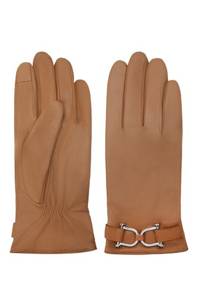Женские кожаные перчатки BOSS бежевого цвета, арт. 50437332 | Фото 2