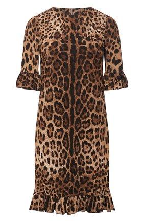 Женское платье из вискозы DOLCE & GABBANA леопардового цвета, арт. F6I6XT/FSRKI | Фото 1