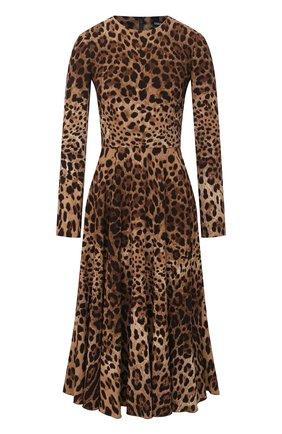 Женское платье из вискозы DOLCE & GABBANA леопардового цвета, арт. F6H0IT/FSRKI | Фото 1