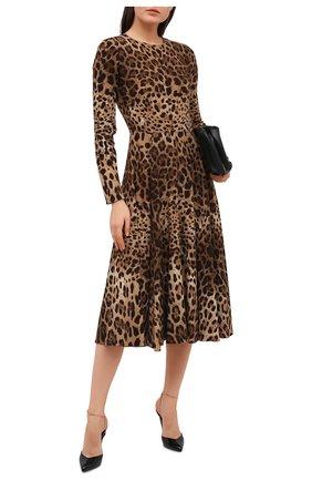 Женское платье из вискозы DOLCE & GABBANA леопардового цвета, арт. F6H0IT/FSRKI | Фото 2