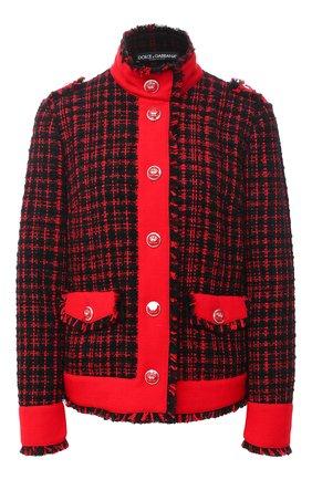 Женский жакет из шерсти и хлопка DOLCE & GABBANA красного цвета, арт. F28TPT/FMMFQ | Фото 1