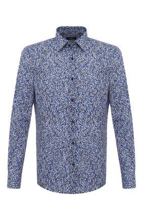Мужская хлопковая рубашка BOSS синего цвета, арт. 50445298 | Фото 1