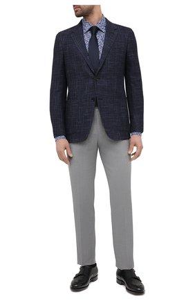 Мужская хлопковая рубашка BOSS синего цвета, арт. 50445298 | Фото 2