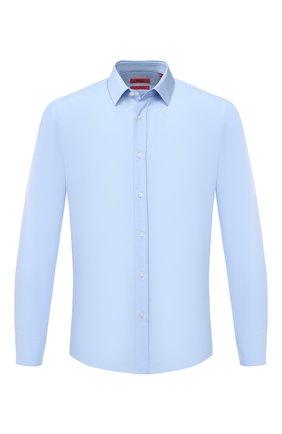 Мужская хлопковая сорочка HUGO голубого цвета, арт. 50418107 | Фото 1
