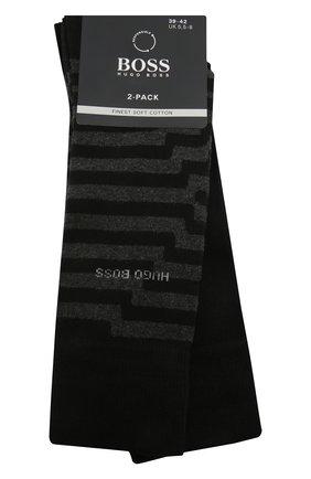 Мужские хлопковые носки BOSS черного цвета, арт. 50442797 | Фото 1 (Кросс-КТ: бельё; Материал внешний: Хлопок)