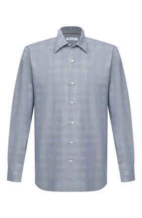 Мужская хлопковая рубашка LORO PIANA синего цвета, арт. FAL4361 | Фото 1