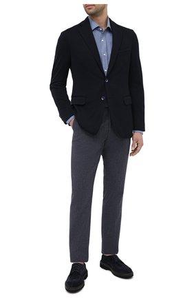 Мужская хлопковая рубашка RALPH LAUREN темно-синего цвета, арт. 790806114 | Фото 2