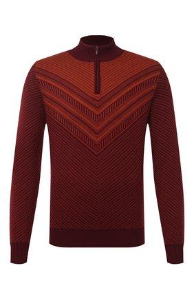 Мужской свитер из шерсти и шелка ZILLI SPORT бордового цвета, арт. MBU-CZ603-FASH9/ML01 | Фото 1