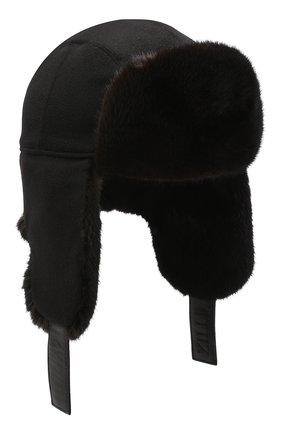 Шапка-ушанка с отделкой из меха норки | Фото №1