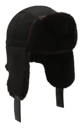 Мужская шапка-ушанка с отделкой из меха норки ZILLI черного цвета, арт. MHQ-0RS00-30337/1001 | Фото 1