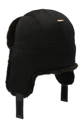 Мужская шапка-ушанка с отделкой из меха норки ZILLI черного цвета, арт. MHQ-0RS00-30337/1001 | Фото 2