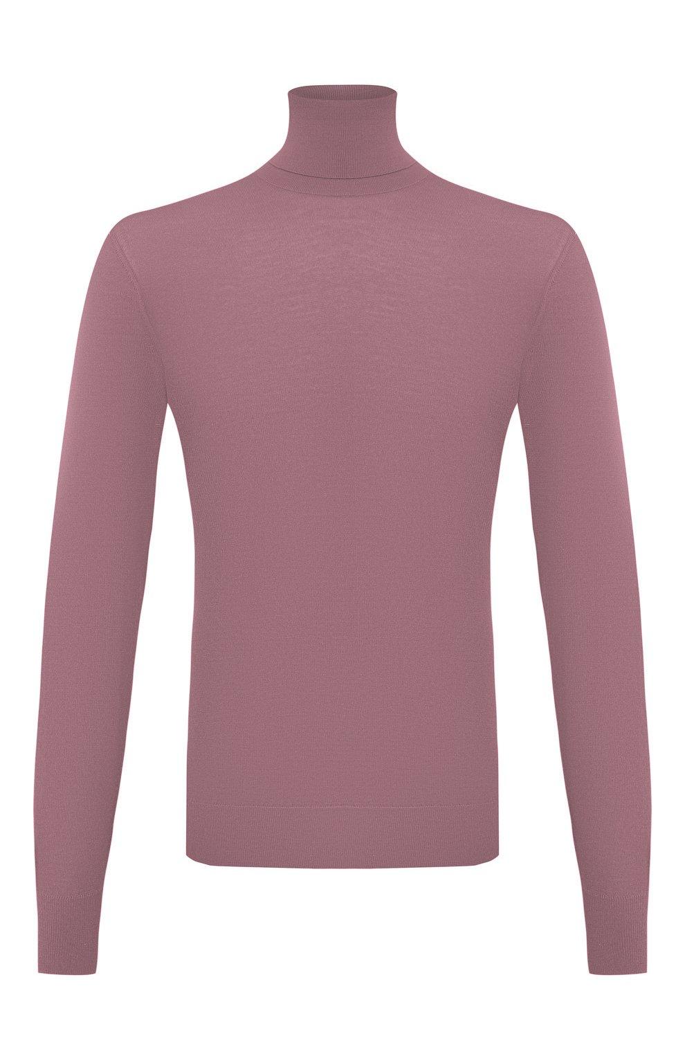 Мужской кашемировая водолазка DOLCE & GABBANA розового цвета, арт. GXB00T/JAW20   Фото 1 (Материал внешний: Шерсть, Кашемир; Рукава: Длинные; Принт: Без принта; Длина (для топов): Стандартные; Мужское Кросс-КТ: Водолазка-одежда; Стили: Кэжуэл)