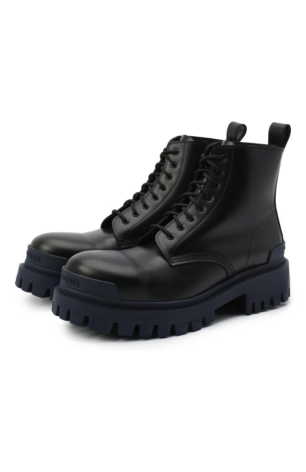 Мужские кожаные ботинки strike BALENCIAGA темно-синего цвета, арт. 589338/WA967 | Фото 1