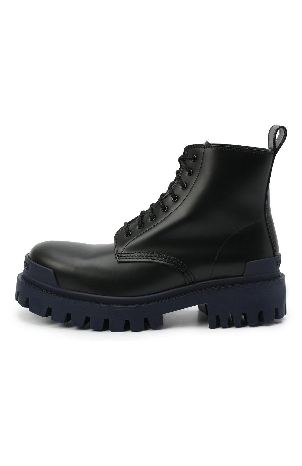 Мужские кожаные ботинки strike BALENCIAGA темно-синего цвета, арт. 589338/WA967 | Фото 3