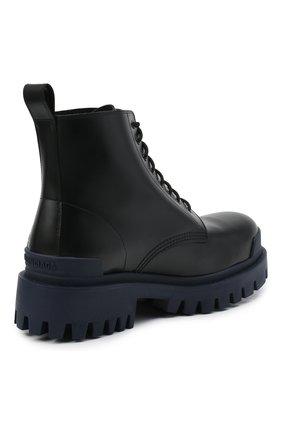 Мужские кожаные ботинки strike BALENCIAGA темно-синего цвета, арт. 589338/WA967 | Фото 4