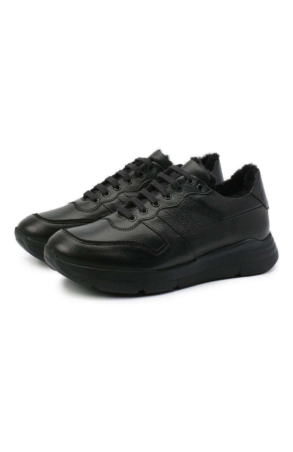 Мужские кожаные кроссовки CAMERLENGO черного цвета, арт. M15593PARIGI579   Фото 1 (Материал утеплителя: Натуральный мех; Стили: Классический; Подошва: Массивная)