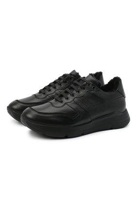 Мужские кожаные кроссовки CAMERLENGO черного цвета, арт. M15593PARIGI579 | Фото 1
