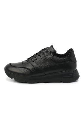 Мужские кожаные кроссовки CAMERLENGO черного цвета, арт. M15593PARIGI579   Фото 3 (Материал утеплителя: Натуральный мех; Стили: Классический; Подошва: Массивная)