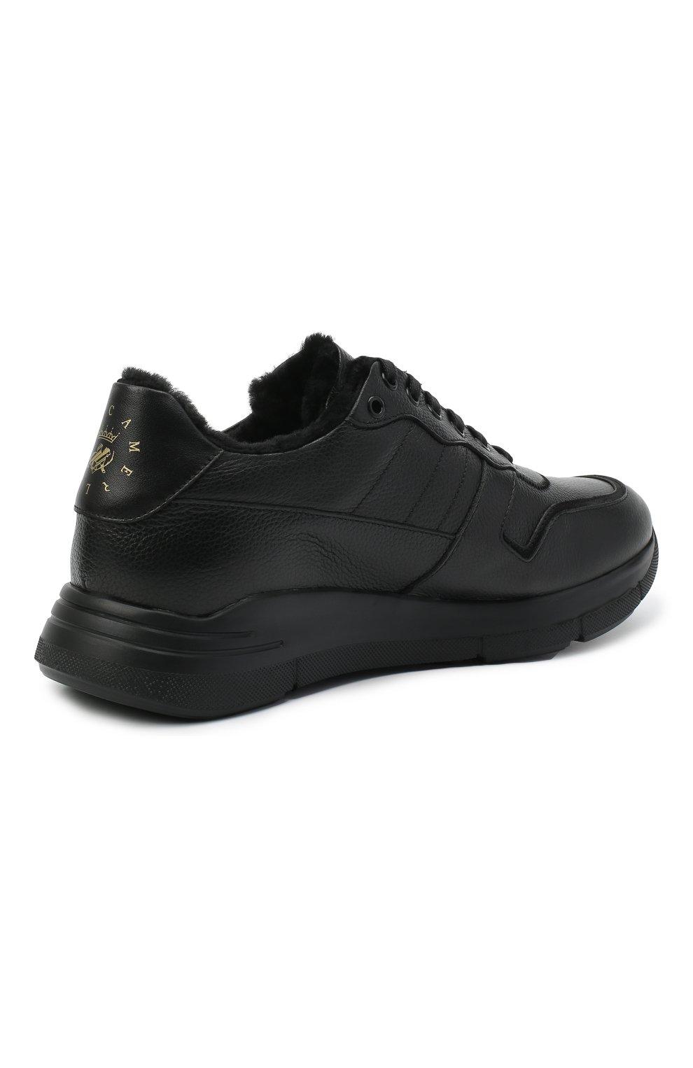 Мужские кожаные кроссовки CAMERLENGO черного цвета, арт. M15593PARIGI579   Фото 4 (Материал утеплителя: Натуральный мех; Стили: Классический; Подошва: Массивная)